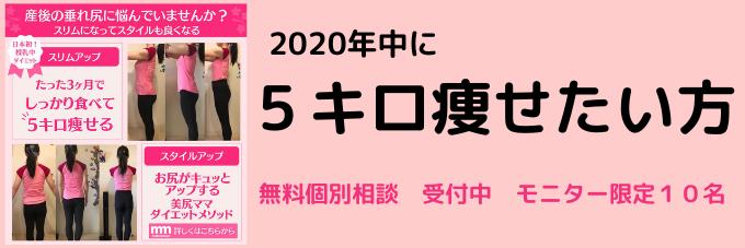 2020年内 5キロ痩せたいかた 無料個別相談 モニター10名受付中!